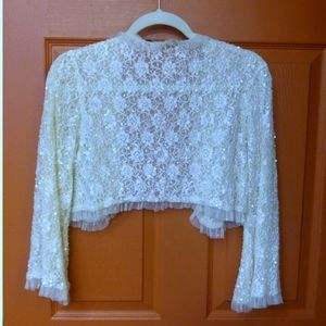 Betsey Johnson Beaded Cream Bolero Cropped Jacket